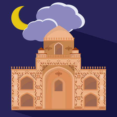 mohammed: Mosques silhouette on purple night background. Vector flat illustration. Ramadan Kareem label. Greeting card. Holiday design for holy month of muslim community.