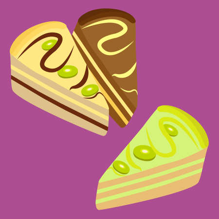 vanilla cake: Set of three pieces of cake: vanilla cake, lemon cake, chocolate cake. Collection of sweet pastry. Cherry, vanilla and chocolate muffins.  Beautiful desserts. Vector illustration Illustration