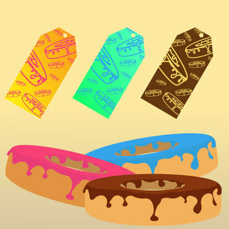 bakery price: Donuts with ready to use stickers for sale. Banners for advertisement. Restaurant menu. Price labels. Fresh bakery. Tasty delicious donuts set. Fast Food icon. Break for a dessert. Vector