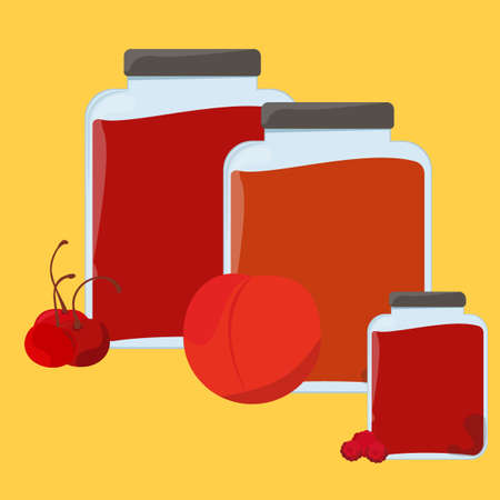homemade: Sweet and healthy homemade strawberry jam set. Collection of ready to use stickers for sale with jam banks. Banners for advertisement. Restaurant menu. Price labels. Vector illustration Illustration