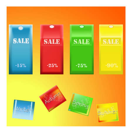 flier: Spring summer winter autumn sale discount banner. Shopping sticker. Announcement, flier, board. Shopping sticker. Price reduction label, flier. Trade commerce element. Promo sign offer. Illustration