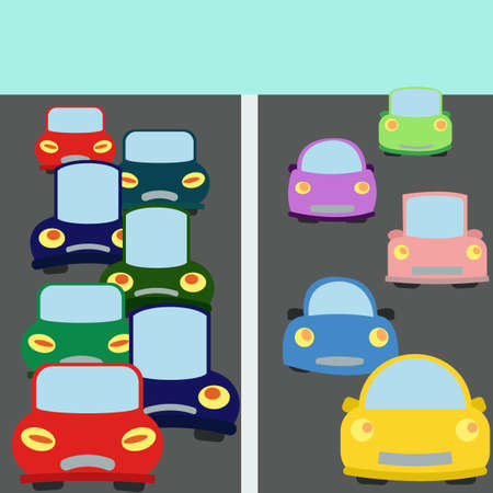 busy city: Vector set of various city urban traffic vehicles on the road. Hybrid automobiles. Cartoon style. Cute funny cars. Collection of car. Busy traffic. Transportation items. Vector design