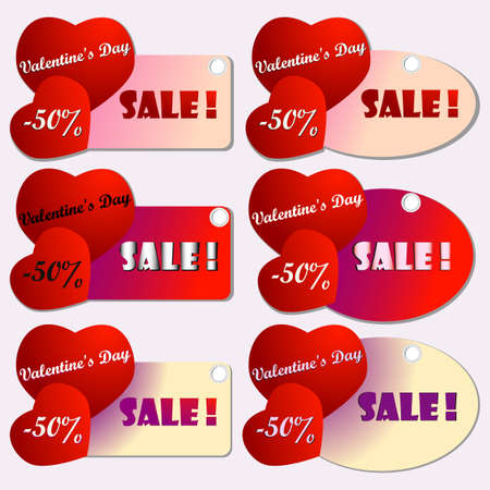 price reduction: Happy valentines day cards with  hearts. Saint Valentines day sale and discount banner announcement. Shopping sticker. Price reduction label, flier. Trade commerce element. Promo sign offer