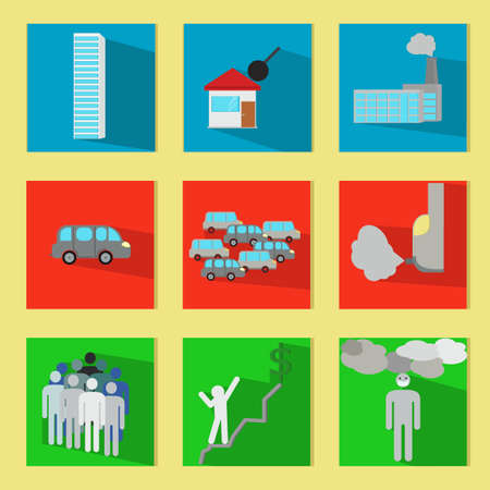 life style: Set of minimal modern icons. Business administration, consumerism, urban life concepts. House people cars environmental problems. Flat style. Country house. City life. Vector design illustration