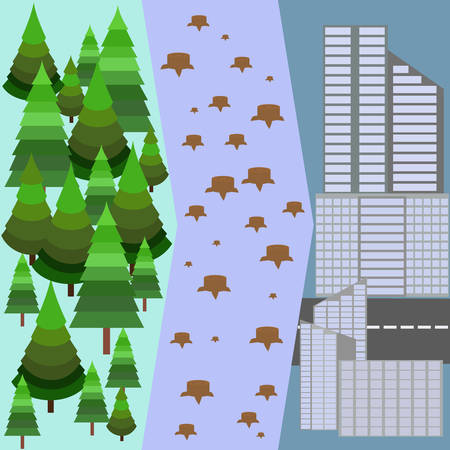 logging: Illustration of Tree Stumps showing Deforestation. Green forest. Illegal logging of trees. Destroying of the environment. Ecological disaster. People destroy the nature. Vector design illustration
