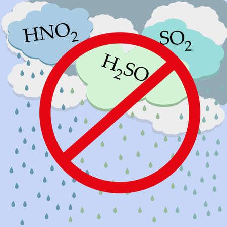 kwaśne deszcze: Ilustracja przedstawiająca efektów toksycznych zanieczyszczeń powietrza na środowisko, w postaci Acid Rain. Świat problemem ekologicznym. Przyczyny zanieczyszczenia powietrza i efektu cieplarnianego. katastrofa ekologiczna Ilustracja