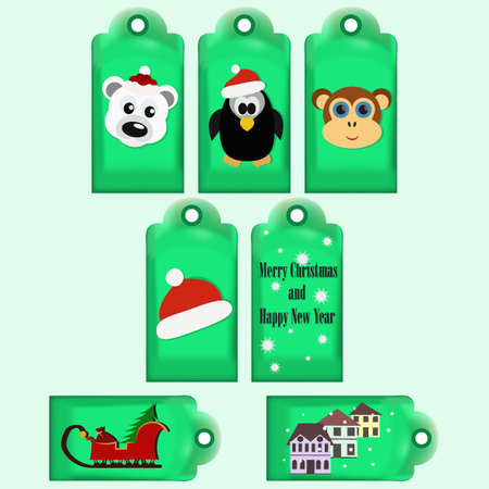 Collection of Christmas and New Year cute ready-to-use gift tags. Printable hand drawn holiday labels. For invitation cards, greetings, posters. Winter banner with cool animals. Vector illustration. Illustration