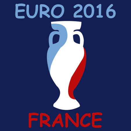 honour: Championship cup Euro 2016. France leader. Prize for a game. Golden award. Euro football cup 2016. Achievement for competition. Leadership symbol. Stylish honour bowl. Write score yourself. Vector