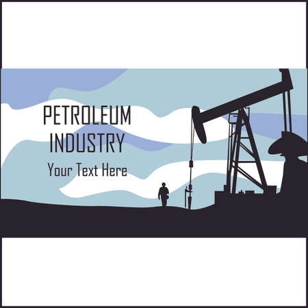 drilling platform: Petroleum Industry template. Production of gas and oil. Petrol logo. Diesel and fuel technology. Price for barrel. Drilling platform. For posters, banners, visit cards. Vector illustration