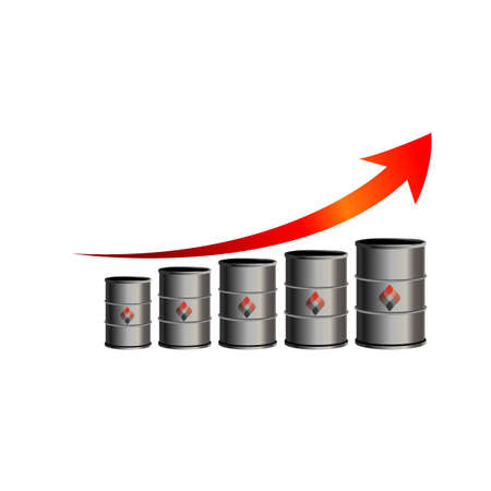 crude: Crude oil price down, abstract illustration with barrel and diagram. Oil and gas production. Fall and rise of the price. Oil container. Finance diagram. Vector design illustration