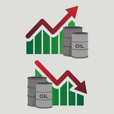 rise fall: Crude oil price down, abstract illustration with barrel and diagram. Oil and gas production. Fall and rise of the price. Oil container. Finance diagram. Vector design illustration