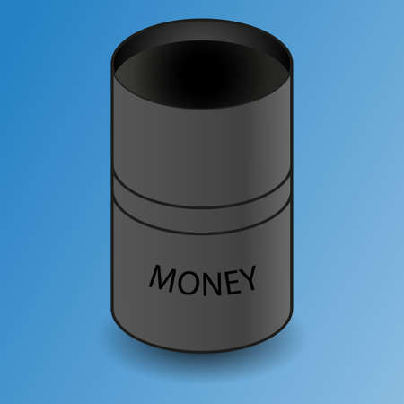 rise fall: Crude oil price. Abstract illustration with barrel. Oil and gas production. Fall and rise of the price. Oil container. Finance diagram. Black money. Vector design illustration Illustration