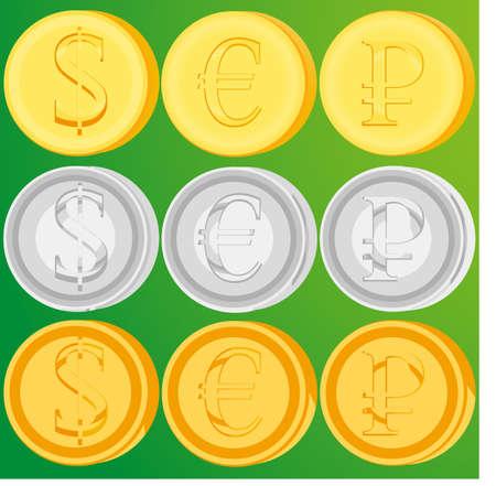 Set goldene, silberne und bronzene Münzen. Dollar Euro und Rubel. Geldzeichen. Währungspositionen. Finanzsystem. Kasse. Economy-Konzept. Round Ergebnis. Metallic Geld. Stabile Erträge. Vector design