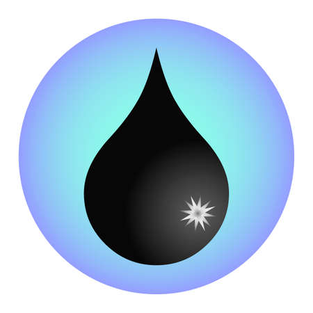 rise fall: Abstract symbol  of a drop. Black petroleum droplet button. Oil and gas production. Fall and rise of the price. Liquid oil substance. Fuel logo.  Black money. Creative sign. Vector design illustration