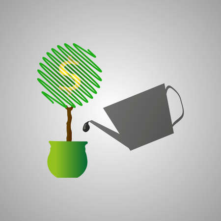 watered: Money tree watered by the can with black petroleum. Growth of wealth. Oil and petroleum industry logo design. Petrol logo. Diesel and fuel technology. Petrol symbol. Oil label. Vector illustration