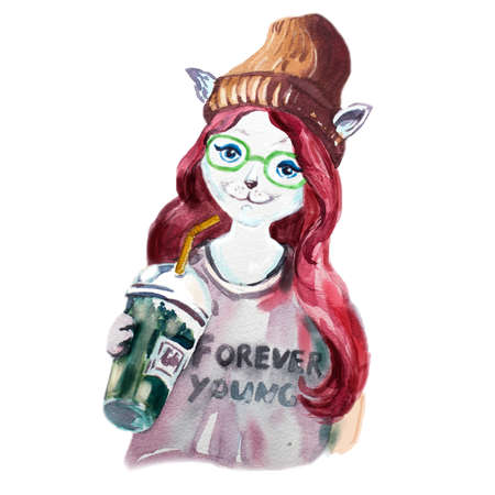 Beautiful watercolor drawing of cat with blue eyes in cute hat. Cat girl dressed up in casual clothes. Hipster animal illustration. Hand drawn graphic. Furry art greeting character. T-shirt design Foto de archivo