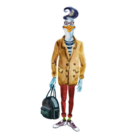 anthropomorphic: Watercolor fashion animal illustration. Anthropomorphic design, furry art. Hand drawn goose dressed up in modern clothes. Cartoon boy hipster. Watercolor creative poster. T-shirt graphics