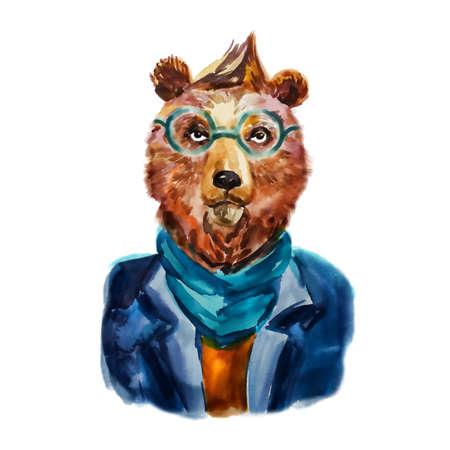 ヒップ スカーフとメガネでクマの手描きイラスト。面白い動物。モダンなクマは、クールな服で着飾った。動物・ ファッション ・ デザイン。漫画少年。水彩創造的なポスター。T シャツのグラフィック 写真素材 - 53505895