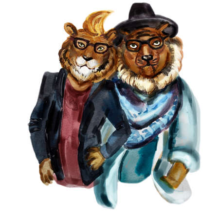 anthropomorphic: Cute modern hipsters lions. Stylish anthropomorphic lion couple. Fashionable friends lovers. Save the date greeting card. T-shirt graphics. Cute human animals. Love concept. Watercolor illustration.