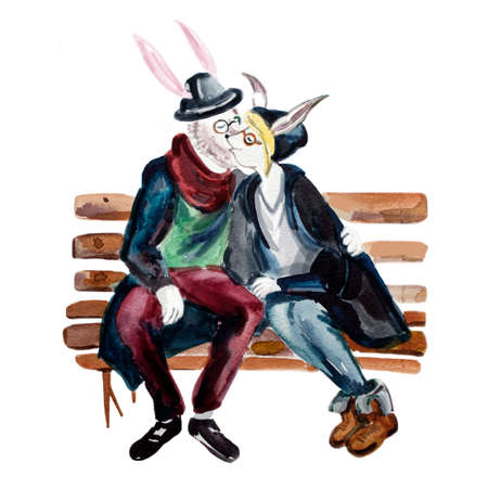 anthropomorphic: Hipster style anthropomorphic goat couple kissing on the bench. Fashionable goat lovers. Save the date greeting card. T-shirt graphics. Cute human animals. Love concept. Watercolor illustration.