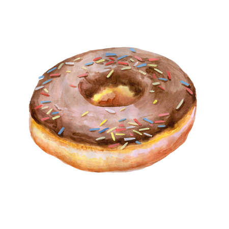 glazed: Colorful watercolor painting of donut glazed with chocolate and sprinkling confectionery. Hand drawn realistic colorful pastry.  Delicious muffin greeting card design. Add your text for any event Stock Photo