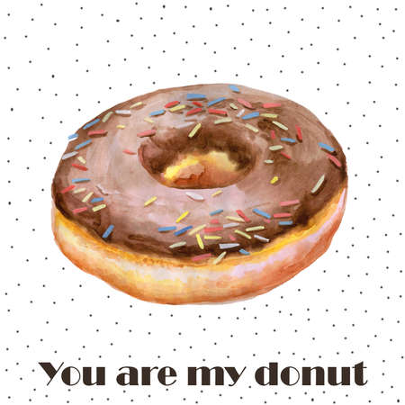 sprinkling: Colorful watercolor painting of donut glazed with chocolate and sprinkling confectionery. Hand drawn realistic colorful pastry.  Delicious muffin greeting card design. Add your text for any event Stock Photo