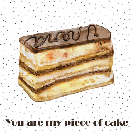 sponge cake: Colorful watercolor painting of chocolate Opera cake piece. Hand drawn realistic colorful pastry.  Delicious french recipe almond, coffee sponge cake. Greeting card design. Add your text for any event Stock Photo