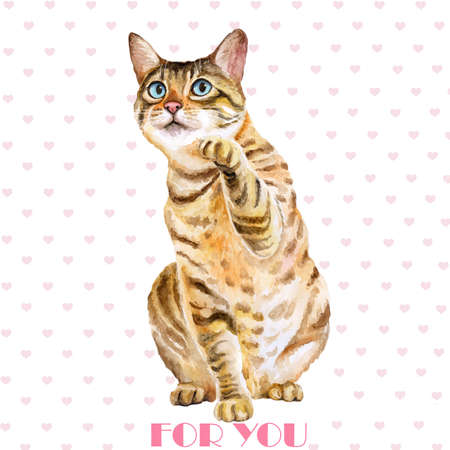 Greeting card design. Watercolor portrait of bengal cute cat with dots, stripes isolated on white background. Hand drawn sweet home pet. Bright colors, realistic design. Clip art. For any even Stock Photo