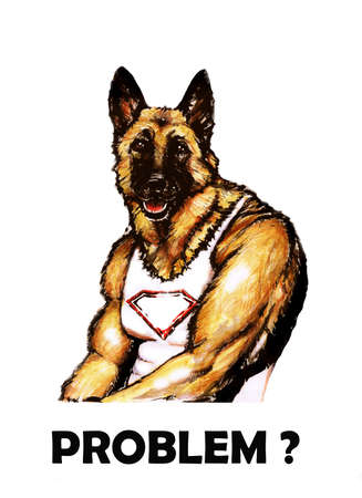 jock: Watercolor portrait of pumped up German Shepherd breed dog isolated on white background. Muscle jock dog. Hand drawn comic card design. Comics style hero. Clip art. You can change or add your text