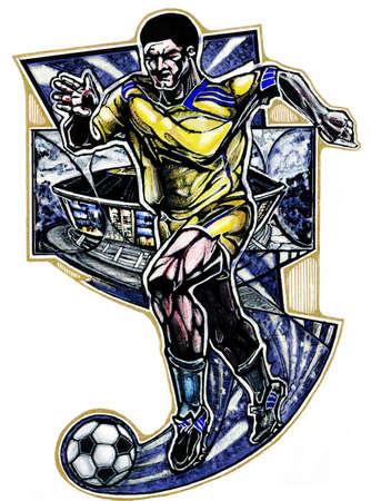 jugador de futbol: Acuarela y t�cnica del dibujo de l�piz del jugador de f�tbol corriendo con bal�n aislado en el fondo blanco. hombre Atleta fuerte con los m�sculos. dise�o agresivo. Collage con estadio en el fondo.