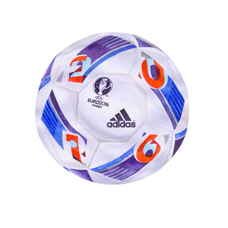 contestation: Official UEFA EURO 2016 France championship ball. Watercolor accurate volume design. The Euros. The Union of European Football Associations. Euro games schedule. Ready banner, flier unique styling Editorial