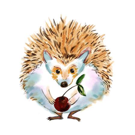egel cartoon getekend in cartoon stijl. Hedgehog jongen hipster met een kers. Fashion dier waterverfillustratie. Circus karakter. Mooie ogen. Affiche voor comic kinderen. Voeg uw tekst.
