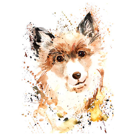 Watercolor dog with brush splashes.   Modern hand painted illustration of cute domestic pet. Collie siberian dog puppy. Curious puppet dog. T-shirt design. For posters, banners, pet shops