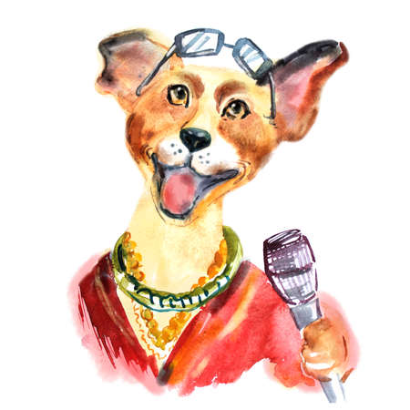 children s art: Cute dog sings karaoke. Watercolor dog hipster with sun glasses and golden chain. Modern dog singing into a microphone. Puppy has fun. Can be used as a mascot, part of a logo or ticket. Stock Photo