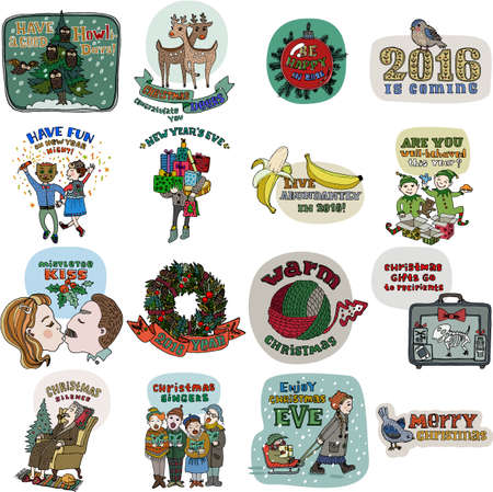 x mas parties: Collection of 16 Christmas and New Year card templates. Posters set. Vector illustration. Template for greeting scrapbooking, congratulations, invitations. Cute cartoon style. All elements editable