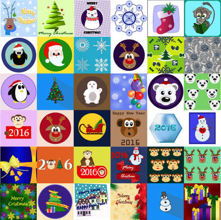 Collection of 36 Christmas and New Year card templates. Posters set. Vector illustration. Template for greeting scrapbooking, congratulations, invitations. Cute cartoon style. All elements editable