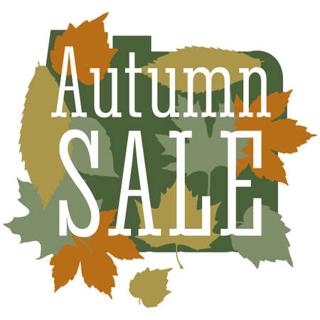 flier: Sale and discount card, banner, flier. Autumn sale title. Maple leaves of different colors: green, orange, yellow, olive composition isolated on white background. Editable vector illustration template