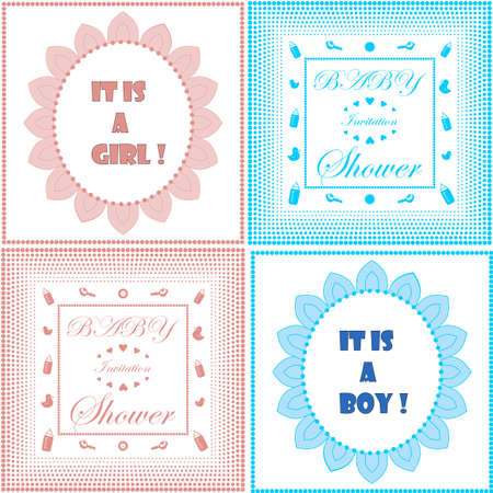 baby announcement card: Baby shower invitation card template set. Boy and girl design. It is a boy, it is a girl title. Newborn baby announcement. Baby birth celebration. Vintage style with dot frame. Vector illustration set