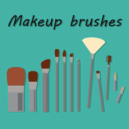 make up brushes: Set of Make Up Brushes icons Isolated on background. RGB vector illustration. Flat design. Professional cosmetics.  Woman decorative cosmetics assessory. Tools for face makeup. Visual demonstration Illustration