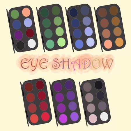 eye makeup: Professional cosmetics. Glamour eye shadow powder set. Different trendy rainbow colors demonstration. Woman, girl modern decorative cosmetics assessory. Eye makeup. Vector illustration editable design