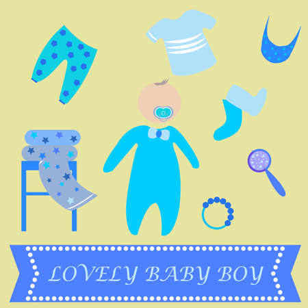 romper: Cute Graphic for Baby Boy. Baby boy newborn lovely greeting card. Baby shower invitation template. Soother, socks, rattle, mirror, rattle, romper suit, bib, t-shirt icons. Vector illustration