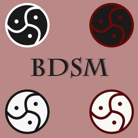 erotic sex: BDSM emblem symbol.  sign. Sex game, variety of erotic practices, role-playing involving bondage, dominance, submission, sadomasochism, interpersonal dynamics. Vector illustration icons set