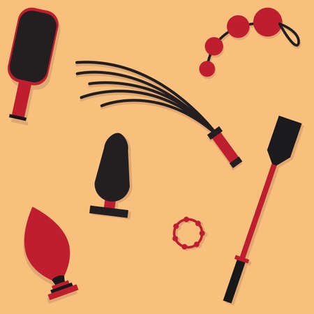 erotic: BDSM accessories set. Whip, stick. Sex game, variety of erotic practices, role-playing involving bondage, dominance, submission, sadomasochism, interpersonal dynamics. Vector illustration icons set