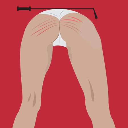 erotic sex: Woman in white panties. Whip spanked booty. BDSM elements. Sex game, variety of erotic practice, role-playing involving bondage, dominance, submission, sadomasochism, interpersonal dynamics. Vector