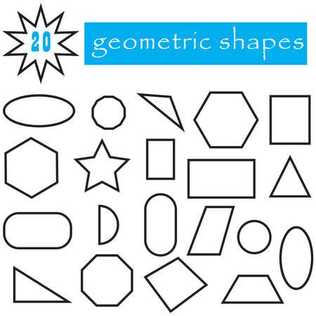 Geometrische Formen Satz von 20 Symbolen. Beliebte flache geometrische Figuren-Sammlung. Schwarze Objekte isoliert auf weißem Hintergrund. können für Kinder in Kindergärten, Schulen verwendet werden. Editierbare Vektor-Illustrationen