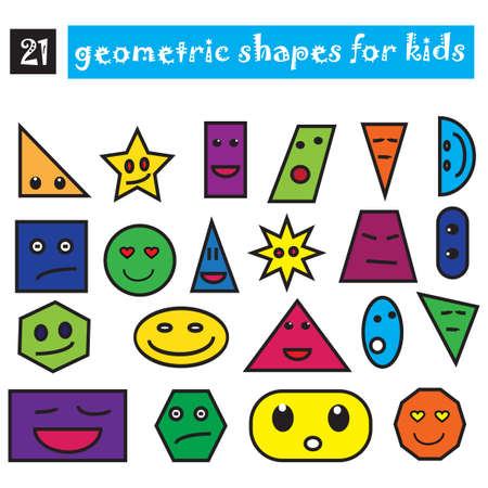 Funny geometric shapes set of 21 icons. Cartoon flat design for children. Colored smiling objects isolated on white background. can be used for kids in kindergartens, schools. Vector illustrations
