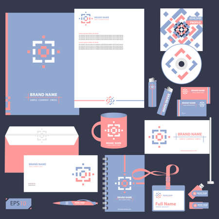 editable: Vector corporate identity design. Blue and pink abstract geometric square and line shapes. Business stationery set. Illustration