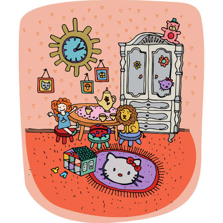 playroom: Toddler girl room interior in cartoon style. Children bedroom with girl lifestyle elements, a lot of toys on the carpet, tiny table with chairs. Cool playroom in pink color. Vector illustration