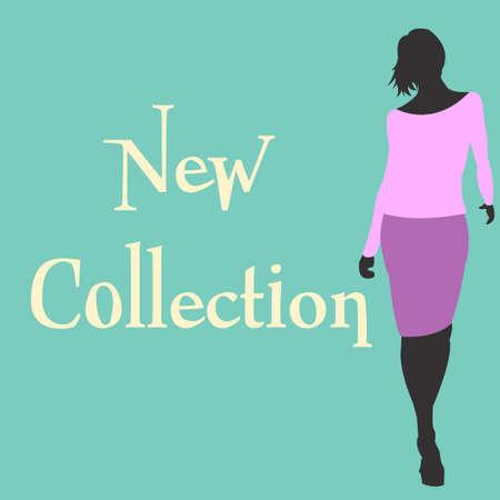 Nieuwe lente collecties ontwerp sjabloon met winkelen vrouw silhouet in trand violet kleren. vector illustratie