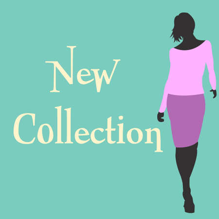 New spring collections design template with shopping woman silhouette in trand violet clothes.  Vector illustration Illustration
